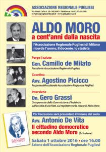 L'Associazione Regionale Pugliesi di Milano commemora il grande statista pugliese Aldo Moro con un evento nel quale sarà presentato il libro di Antonio De Vita