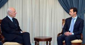 Staffan de Mistura, inviato speciale del Segretario Generale dell'ONU per l Siria, con il Presidente siriano Bashar al-Assad