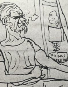 Nel disegno del suo autoritratto scrive, sulla lampada (o fornello), PRIMUS INTER PARES