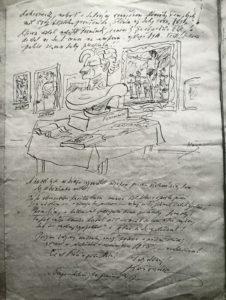 Un disegno preparatorio corredato da note manoscritte