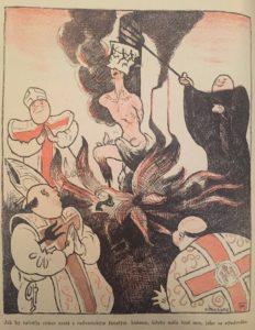 Un disegno satirico contro la Chiesa Cattolica