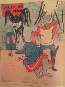 Vignetta satirica antitedesca del periodo tra la 1^ e la ^ Guerra Mondiale